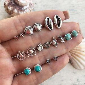Jewelry - 9-Pair Set of Nautical Boho Beach Stud Earrings
